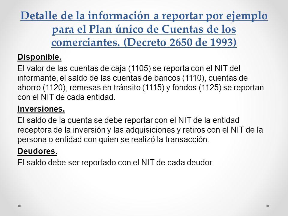 Detalle de la información a reportar por ejemplo para el Plan único de Cuentas de los comerciantes. (Decreto 2650 de 1993) Disponible. El valor de las