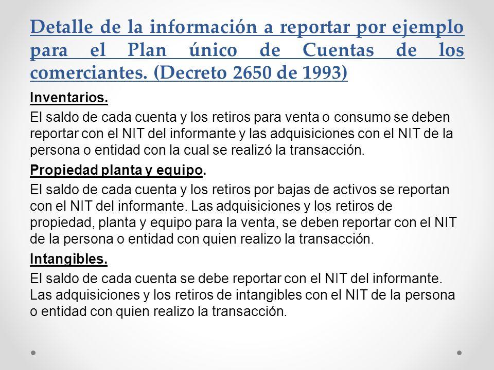 Detalle de la información a reportar por ejemplo para el Plan único de Cuentas de los comerciantes. (Decreto 2650 de 1993) Inventarios. El saldo de ca