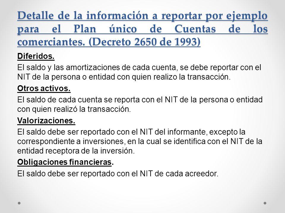 Detalle de la información a reportar por ejemplo para el Plan único de Cuentas de los comerciantes. (Decreto 2650 de 1993) Diferidos. El saldo y las a