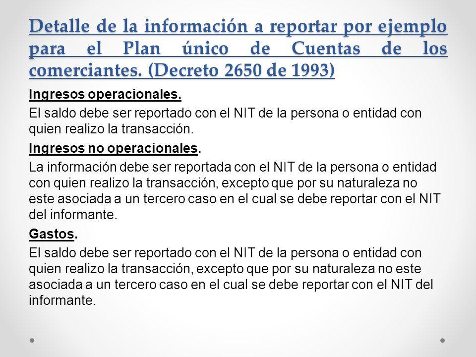 Detalle de la información a reportar por ejemplo para el Plan único de Cuentas de los comerciantes. (Decreto 2650 de 1993) Ingresos operacionales. El