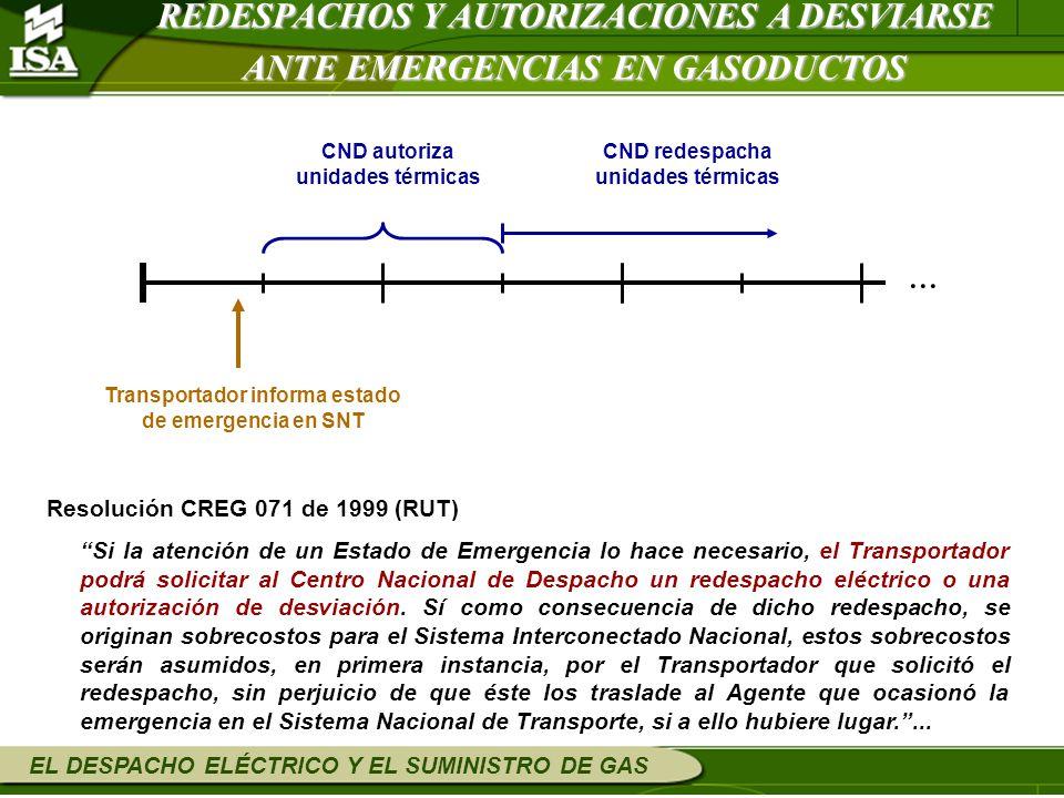 EL DESPACHO ELÉCTRICO Y EL SUMINISTRO DE GAS Resolución CREG 071 de 1999 (RUT) Si la atención de un Estado de Emergencia lo hace necesario, el Transpo