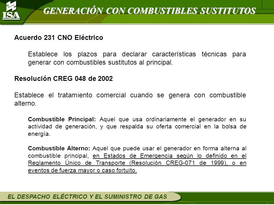EL DESPACHO ELÉCTRICO Y EL SUMINISTRO DE GAS GENERACIÓN CON COMBUSTIBLES SUSTITUTOS Acuerdo 231 CNO Eléctrico Establece los plazos para declarar carac