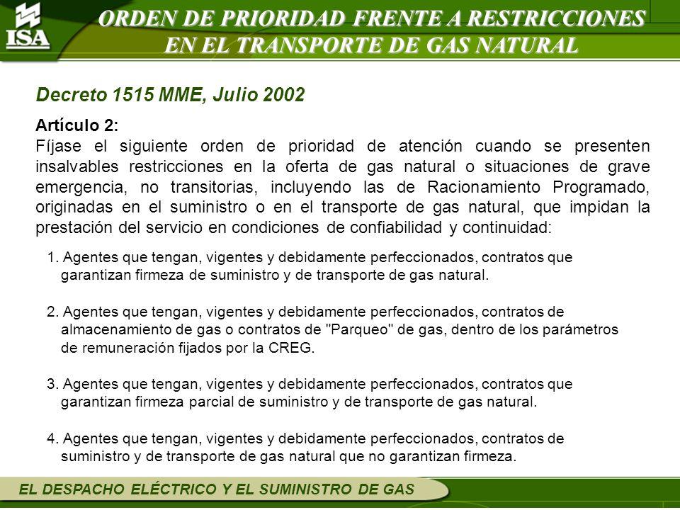 EL DESPACHO ELÉCTRICO Y EL SUMINISTRO DE GAS ORDEN DE PRIORIDAD FRENTE A RESTRICCIONES EN EL TRANSPORTE DE GAS NATURAL Decreto 1515 MME, Julio 2002 Ar