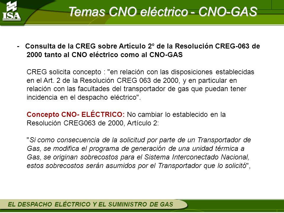 EL DESPACHO ELÉCTRICO Y EL SUMINISTRO DE GAS Temas CNO eléctrico - CNO-GAS - Consulta de la CREG sobre Artículo 2° de la Resolución CREG-063 de 2000 t