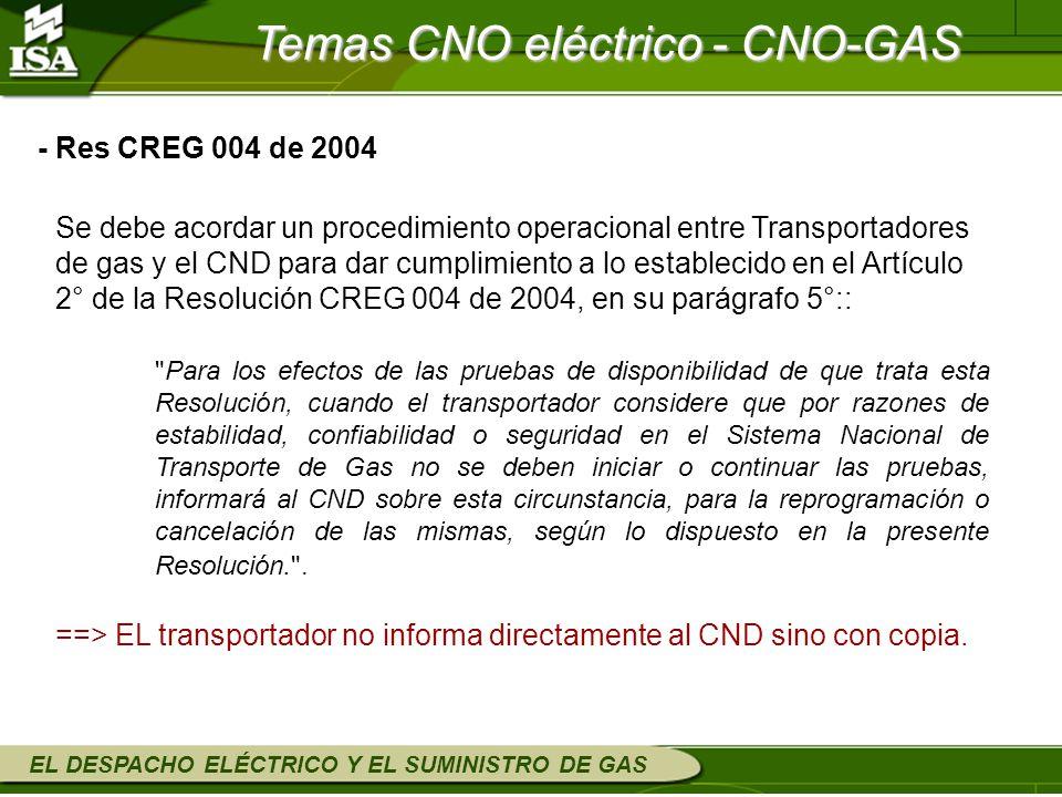 EL DESPACHO ELÉCTRICO Y EL SUMINISTRO DE GAS Se debe acordar un procedimiento operacional entre Transportadores de gas y el CND para dar cumplimiento