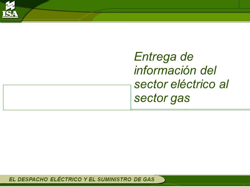 EL DESPACHO ELÉCTRICO Y EL SUMINISTRO DE GAS Entrega de información del sector eléctrico al sector gas