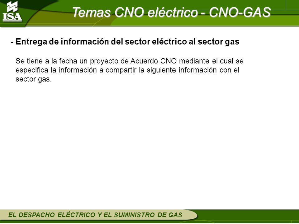 EL DESPACHO ELÉCTRICO Y EL SUMINISTRO DE GAS Se tiene a la fecha un proyecto de Acuerdo CNO mediante el cual se especifica la información a compartir