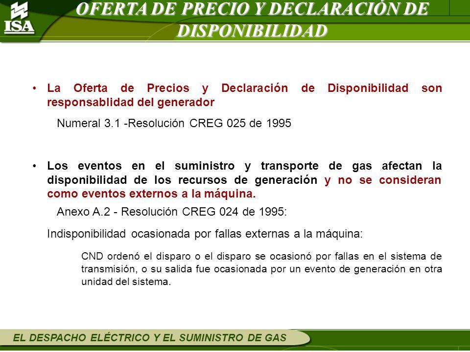 EL DESPACHO ELÉCTRICO Y EL SUMINISTRO DE GAS La Oferta de Precios y Declaración de Disponibilidad son responsablidad del generador Numeral 3.1 -Resolu