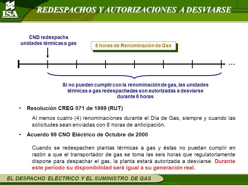 EL DESPACHO ELÉCTRICO Y EL SUMINISTRO DE GAS Resolución CREG 071 de 1999 (RUT) Al menos cuatro (4) renominaciones durante el Día de Gas, siempre y cua
