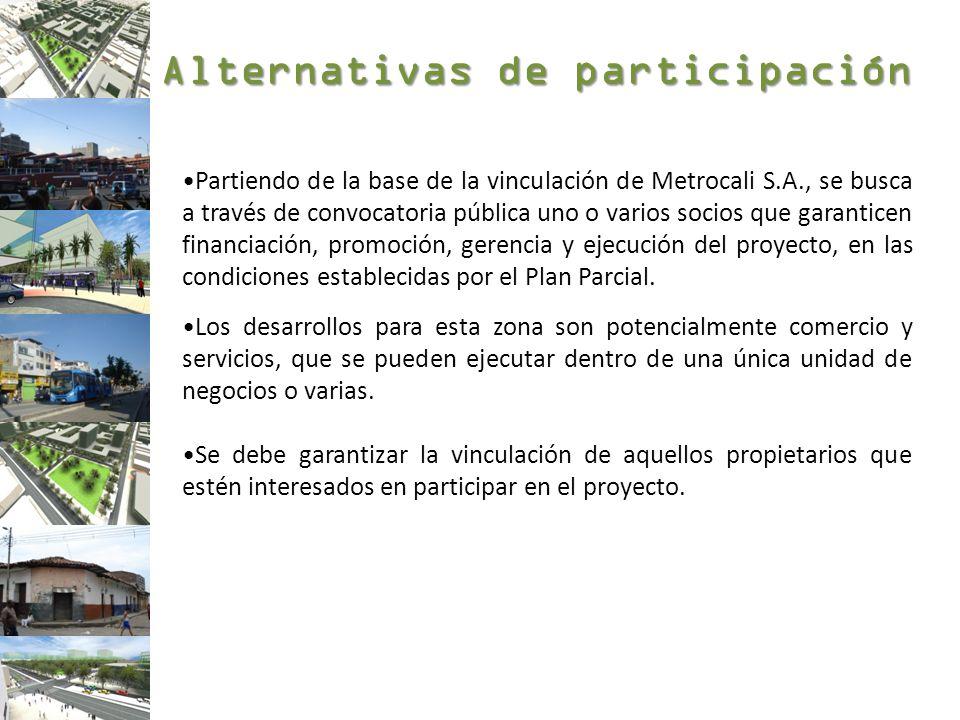 Alternativas de participación Partiendo de la base de la vinculación de Metrocali S.A., se busca a través de convocatoria pública uno o varios socios