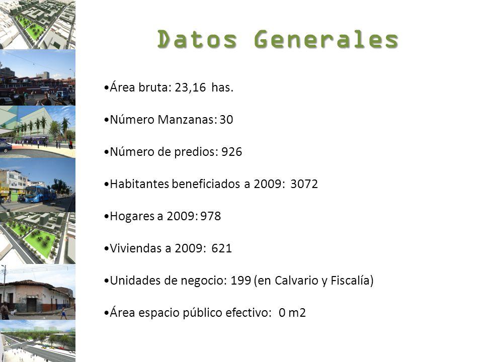 Datos Generales Área bruta: 23,16 has. Número Manzanas: 30 Número de predios: 926 Habitantes beneficiados a 2009: 3072 Hogares a 2009: 978 Viviendas a