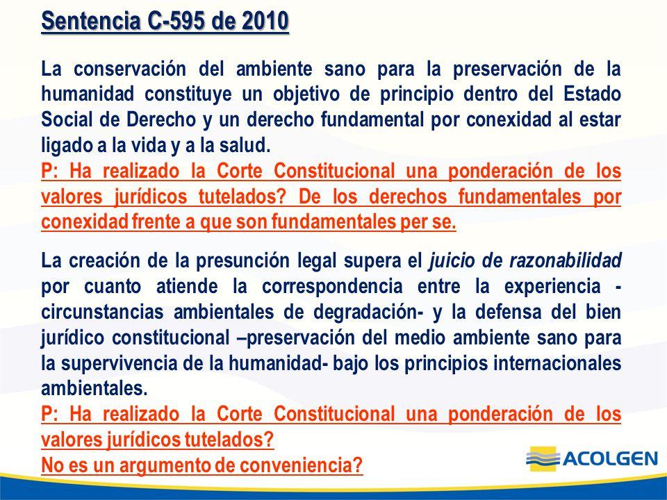 Sentencia C-595 de 2010 La conservación del ambiente sano para la preservación de la humanidad constituye un objetivo de principio dentro del Estado S