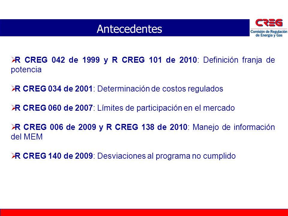 Antecedentes R CREG 042 de 1999 y R CREG 101 de 2010: Definición franja de potencia R CREG 034 de 2001: Determinación de costos regulados R CREG 060 d