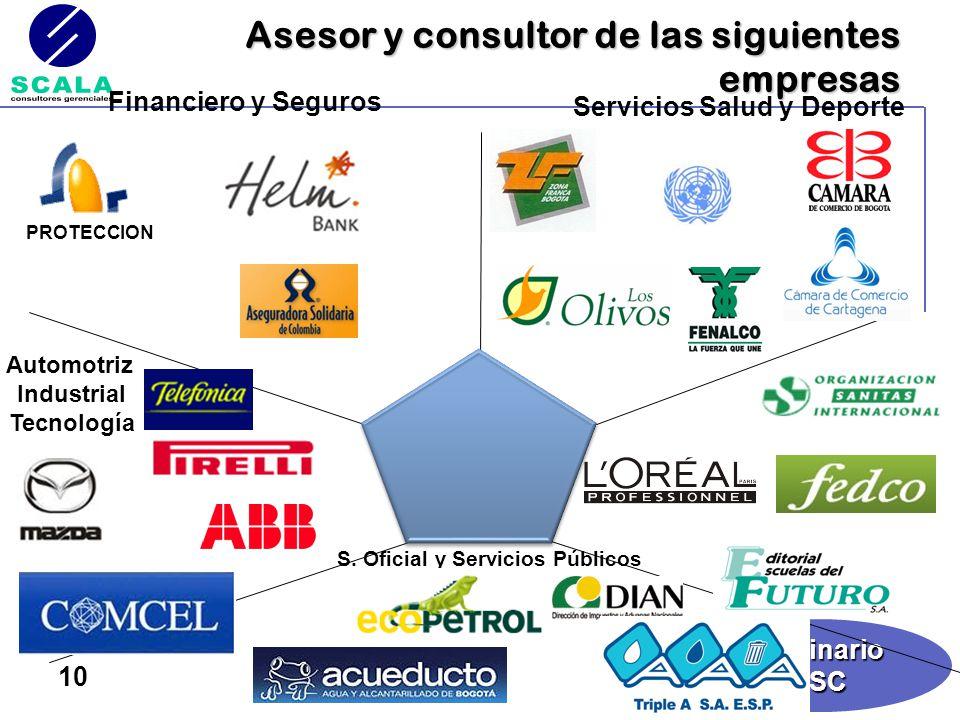 SeminarioBSC 10 Asesor y consultor de las siguientes empresas Financiero y Seguros S. Oficial y Servicios Públicos Automotriz Industrial Tecnología Se
