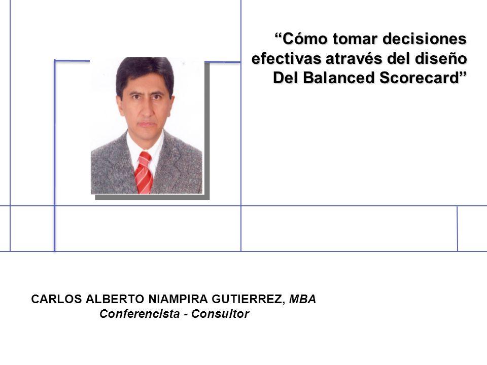 CARLOS ALBERTO NIAMPIRA GUTIERREZ, MBA Conferencista - Consultor Cómo tomar decisionesCómo tomar decisiones efectivas através del diseño Del Balanced