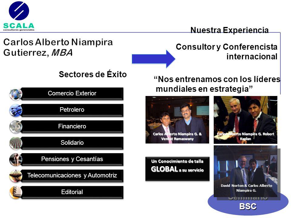 SeminarioBSC Consultor y Conferencista internacional Sectores de Éxito Nos entrenamos con los líderes mundiales en estrategia David Norton & Carlos Al