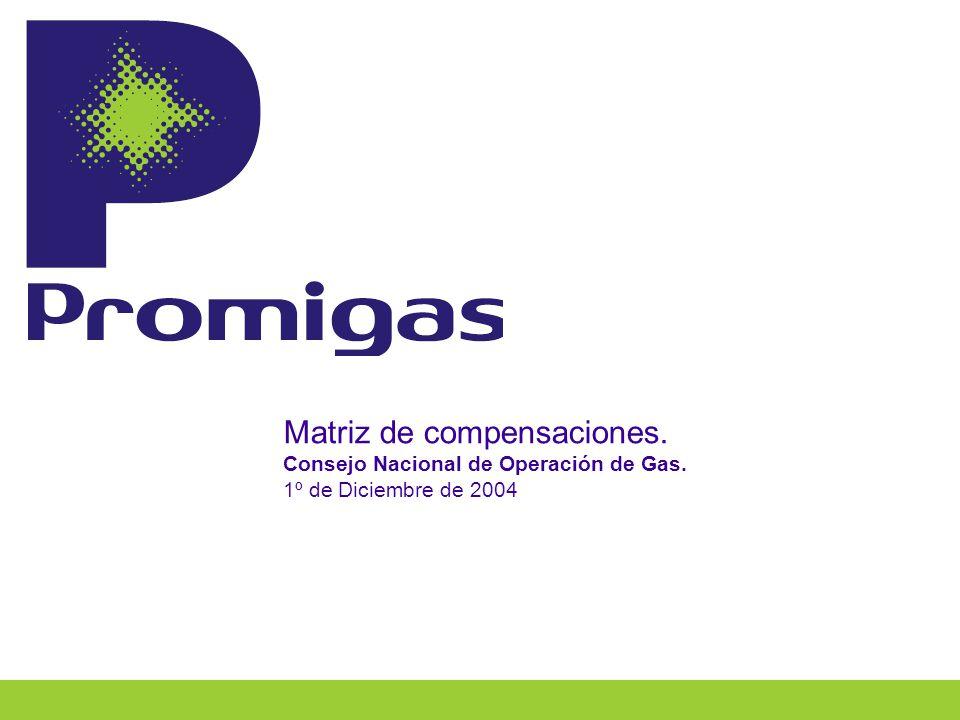 Matriz de compensaciones. Consejo Nacional de Operación de Gas. 1º de Diciembre de 2004