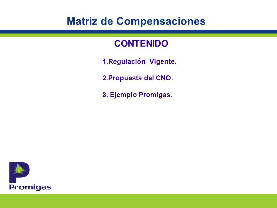 Matriz de Compensaciones CONTENIDO 1.Regulación Vigente. 2.Propuesta del CNO. 3. Ejemplo Promigas.