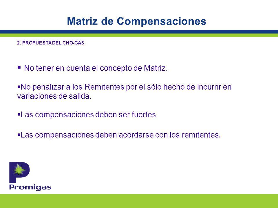 Matriz de Compensaciones 2. PROPUESTA DEL CNO-GAS No tener en cuenta el concepto de Matriz.