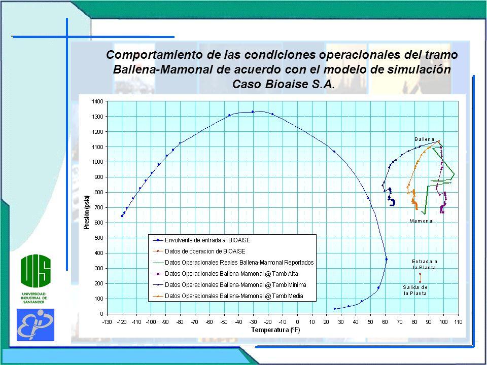 Comportamiento de las condiciones operacionales del tramo Ballena-Mamonal de acuerdo con el modelo de simulación Caso Bioaise S.A.