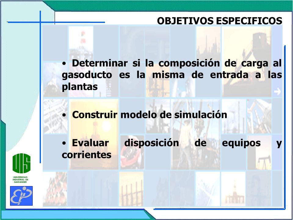 OBJETIVOS ESPECIFICOS Determinar si la composición de carga al gasoducto es la misma de entrada a las plantas Construir modelo de simulación Evaluar disposición de equipos y corrientes