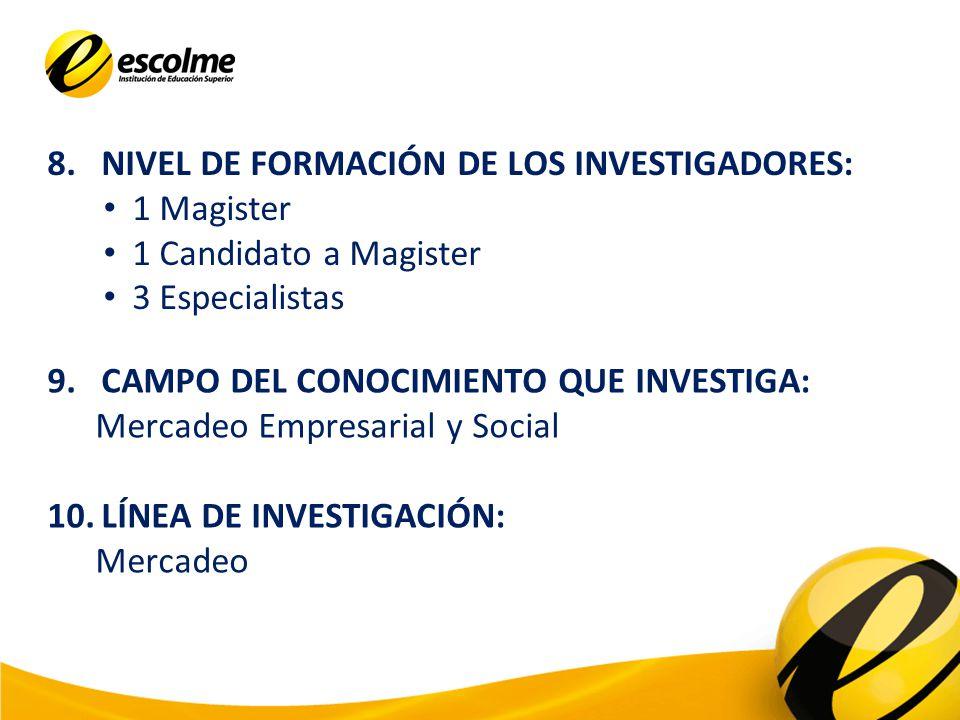 8.NIVEL DE FORMACIÓN DE LOS INVESTIGADORES: 1 Magister 1 Candidato a Magister 3 Especialistas 9.CAMPO DEL CONOCIMIENTO QUE INVESTIGA: Mercadeo Empresarial y Social 10.LÍNEA DE INVESTIGACIÓN: Mercadeo