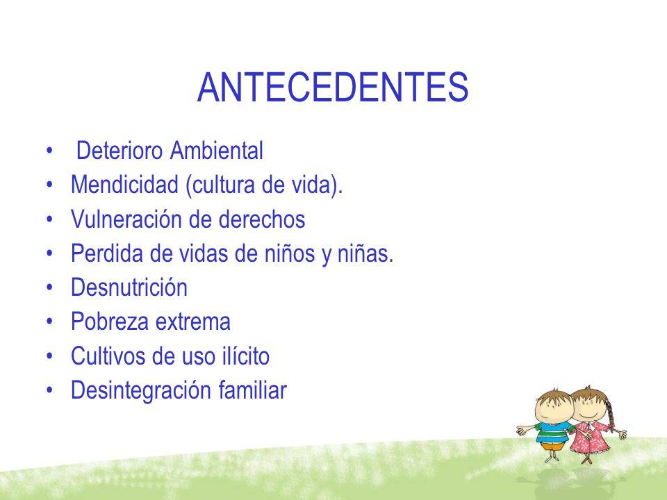 ANTECEDENTES Deterioro Ambiental Mendicidad (cultura de vida). Vulneración de derechos Perdida de vidas de niños y niñas. Desnutrición Pobreza extrema