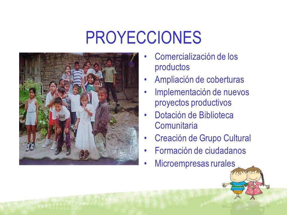 PROYECCIONES Comercialización de los productos Ampliación de coberturas Implementación de nuevos proyectos productivos Dotación de Biblioteca Comunita