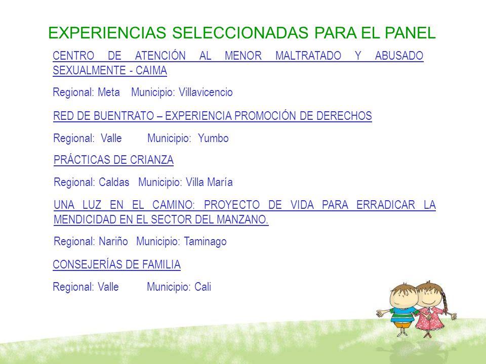 EXPERIENCIAS SELECCIONADAS PARA EL PANEL CENTRO DE ATENCIÓN AL MENOR MALTRATADO Y ABUSADO SEXUALMENTE - CAIMA Regional: Meta Municipio: Villavicencio RED DE BUENTRATO – EXPERIENCIA PROMOCIÓN DE DERECHOS Regional: Valle Municipio: Yumbo PRÁCTICAS DE CRIANZA Regional: Caldas Municipio: Villa María UNA LUZ EN EL CAMINO: PROYECTO DE VIDA PARA ERRADICAR LA MENDICIDAD EN EL SECTOR DEL MANZANO.
