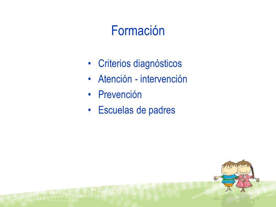 Formación Criterios diagnósticos Atención - intervención Prevención Escuelas de padres