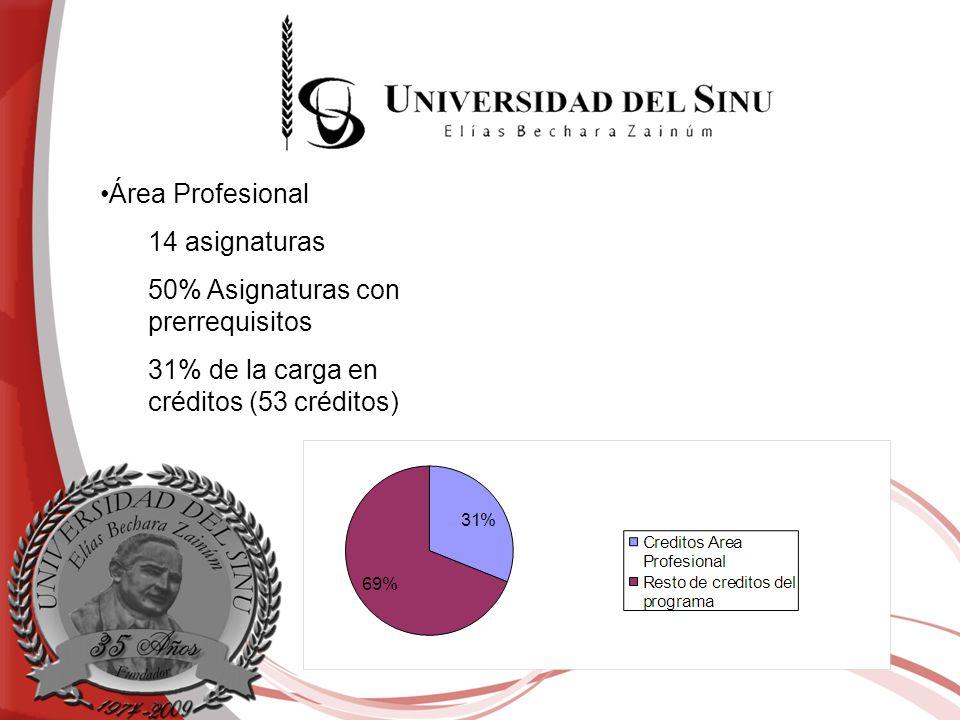 Área Profesional 14 asignaturas 50% Asignaturas con prerrequisitos 31% de la carga en créditos (53 créditos)