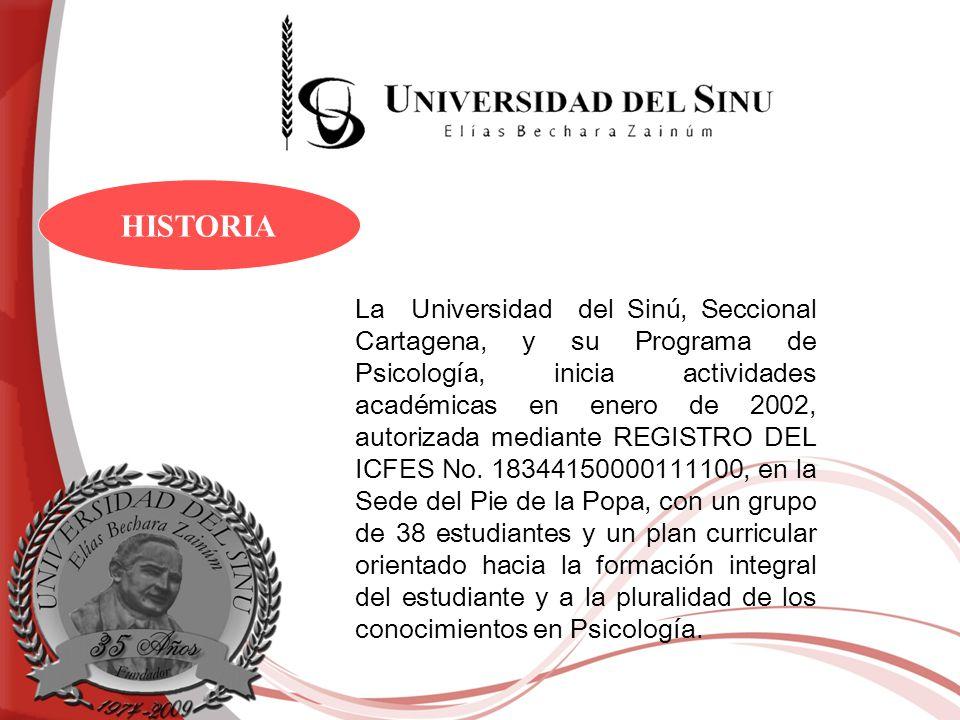 La Universidad del Sinú, Seccional Cartagena, y su Programa de Psicología, inicia actividades académicas en enero de 2002, autorizada mediante REGISTR