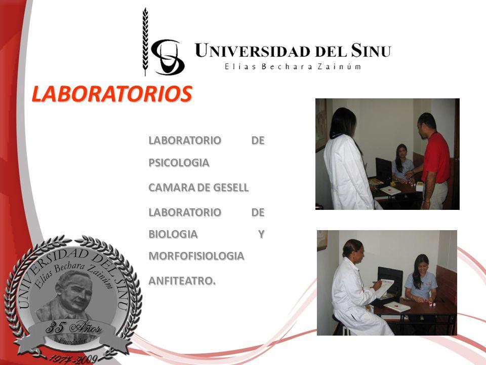 LABORATORIOS LABORATORIO DE PSICOLOGIA CAMARA DE GESELL LABORATORIO DE BIOLOGIA Y MORFOFISIOLOGIA ANFITEATRO.