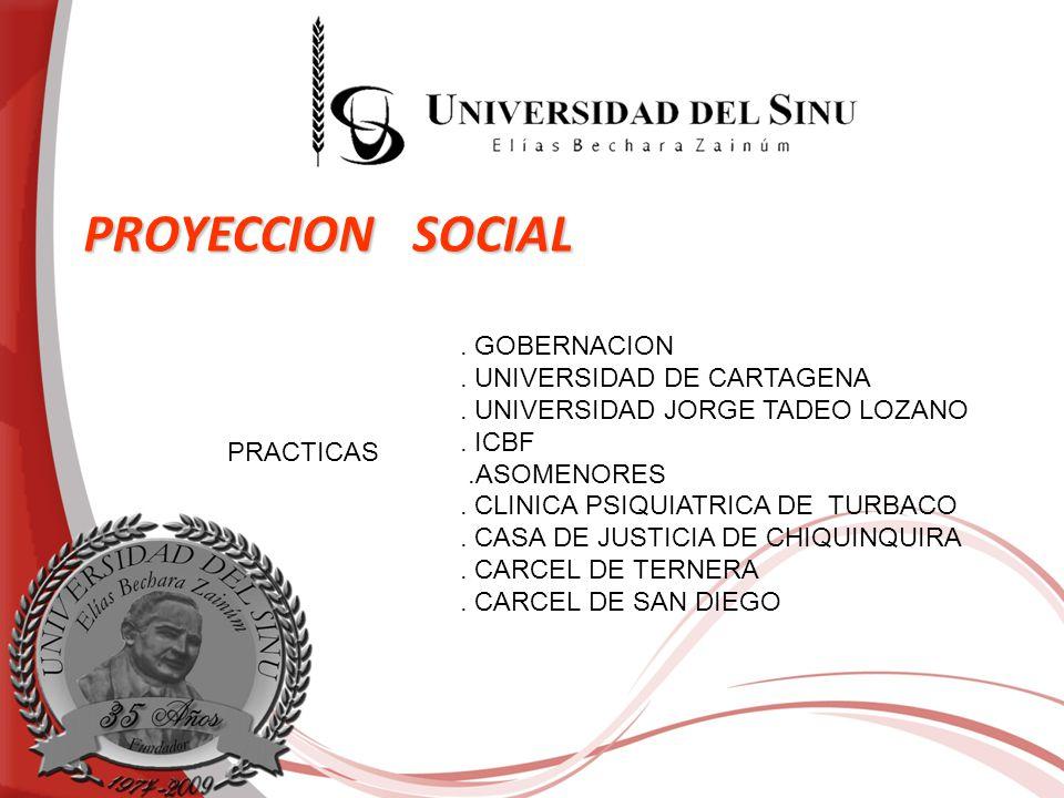 PROYECCION SOCIAL PRACTICAS. GOBERNACION. UNIVERSIDAD DE CARTAGENA. UNIVERSIDAD JORGE TADEO LOZANO. ICBF.ASOMENORES. CLINICA PSIQUIATRICA DE TURBACO.