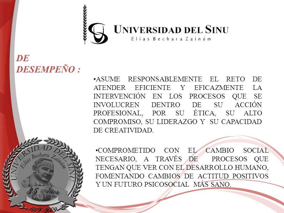 TRABAJA EN PRO DE LA SALUD MENTAL DEL INDIVIDUO EN CUANTO A CONDICIONES FAMILIARES, LABORALES, SOCIALES E INDIVIDUALES, TENIENDO CLARO QUE ÉSTE, ES EL SOPORTE FUNDAMENTAL DEL MANTENIMIENTO SOCIAL Y HUMANO DEL PAÍS.