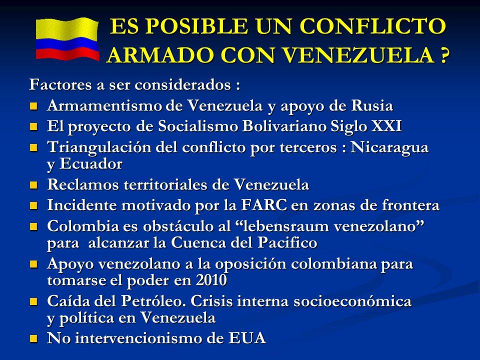 ES POSIBLE UN CONFLICTO ARMADO CON VENEZUELA ? Factores a ser considerados : Armamentismo de Venezuela y apoyo de Rusia Armamentismo de Venezuela y ap