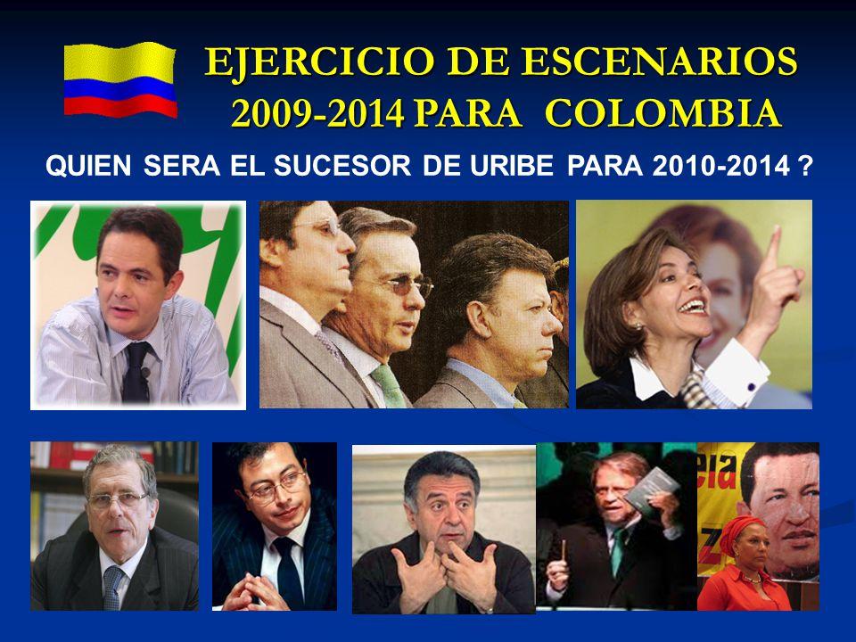 EJERCICIO DE ESCENARIOS 2009-2014 PARA COLOMBIA QUIEN SERA EL SUCESOR DE URIBE PARA 2010-2014 ?