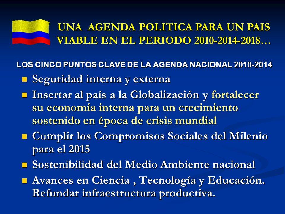 LOS CINCO PUNTOS CLAVE DE LA AGENDA NACIONAL 2010-2014 Seguridad interna y externa Seguridad interna y externa Insertar al país a la Globalización y f