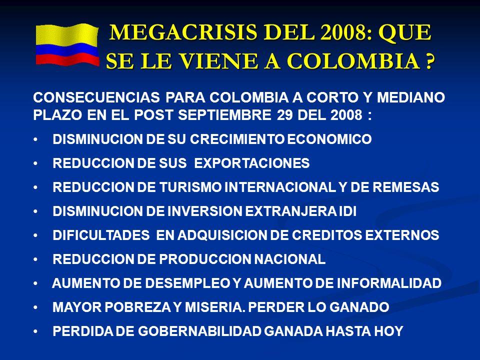MEGACRISIS DEL 2008: QUE SE LE VIENE A COLOMBIA ? CONSECUENCIAS PARA COLOMBIA A CORTO Y MEDIANO PLAZO EN EL POST SEPTIEMBRE 29 DEL 2008 : DISMINUCION