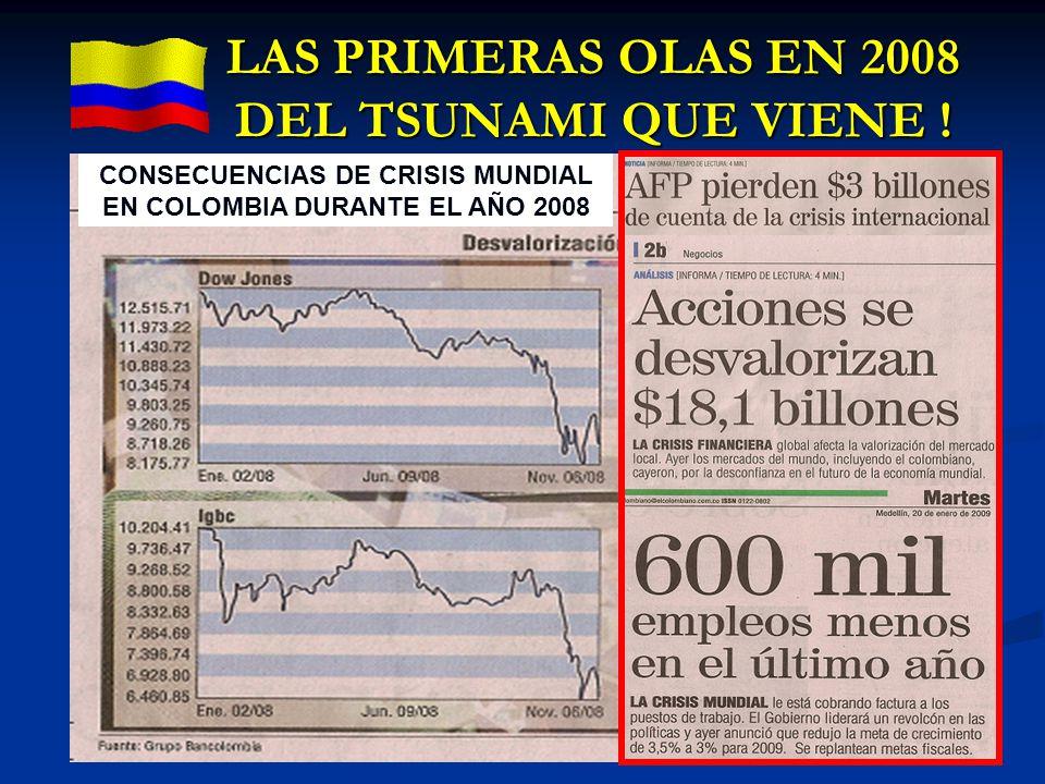 LAS PRIMERAS OLAS EN 2008 DEL TSUNAMI QUE VIENE ! CONSECUENCIAS DE CRISIS MUNDIAL EN COLOMBIA DURANTE EL AÑO 2008