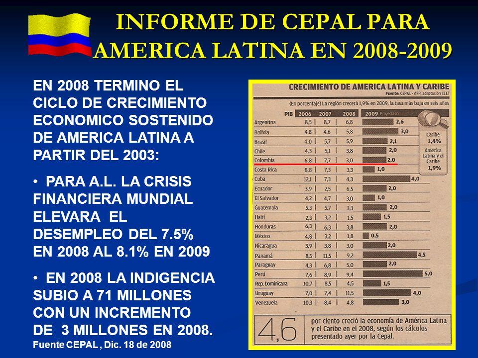 INFORME DE CEPAL PARA AMERICA LATINA EN 2008-2009 EN 2008 TERMINO EL CICLO DE CRECIMIENTO ECONOMICO SOSTENIDO DE AMERICA LATINA A PARTIR DEL 2003: PAR