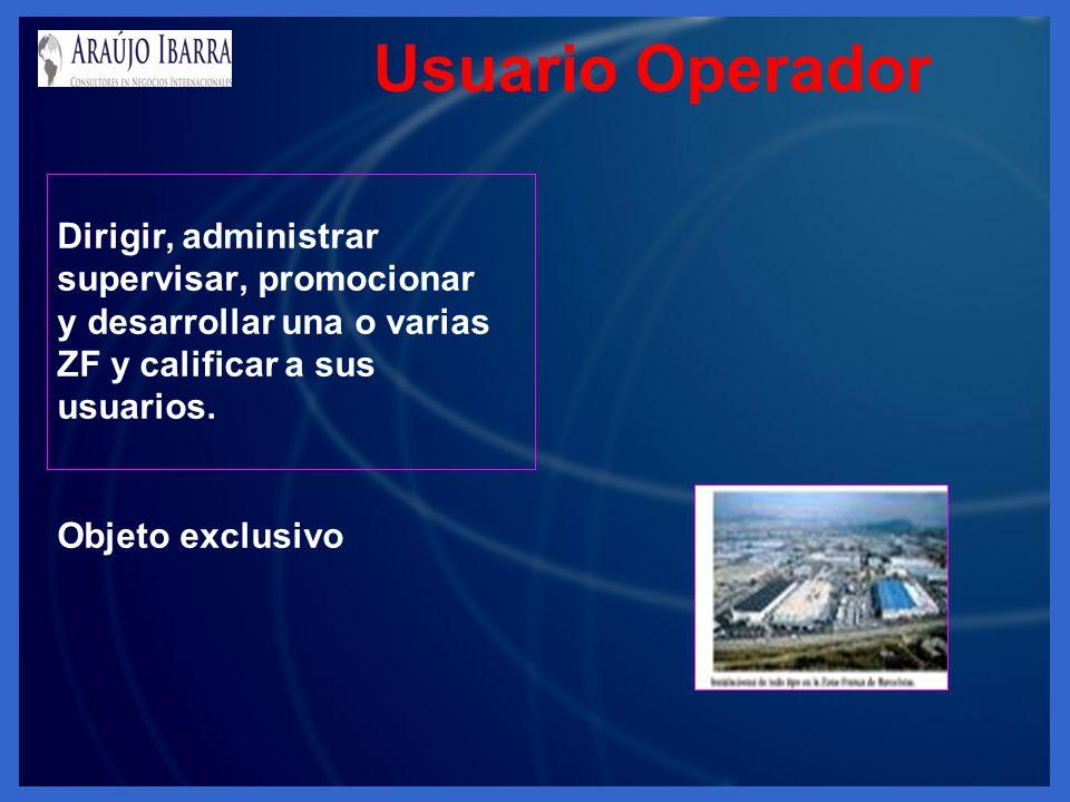 Usuario Operador Dirigir, administrar supervisar, promocionar y desarrollar una o varias ZF y calificar a sus usuarios. Objeto exclusivo