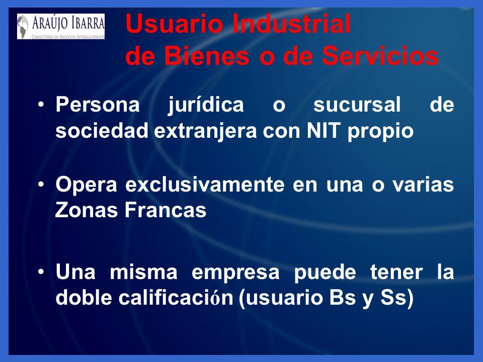 Usuario Industrial de Bienes o de Servicios Persona jurídica o sucursal de sociedad extranjera con NIT propio Opera exclusivamente en una o varias Zon