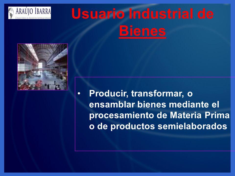 Usuario Industrial de Bienes Producir, transformar, o ensamblar bienes mediante el procesamiento de Materia Prima o de productos semielaborados