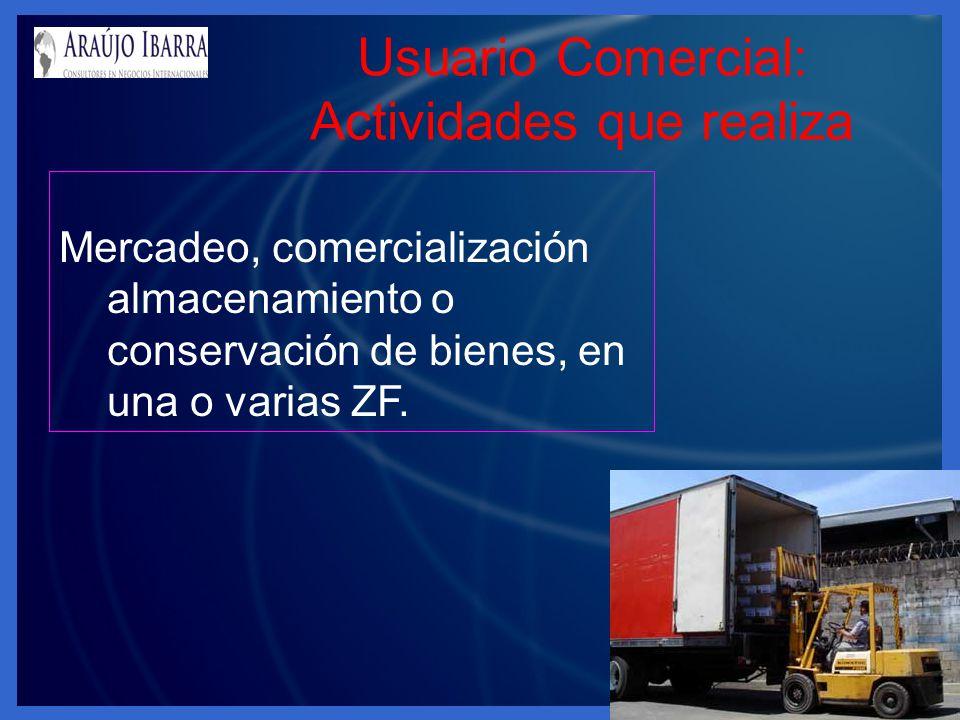 Usuario Comercial: Actividades que realiza Mercadeo, comercialización almacenamiento o conservación de bienes, en una o varias ZF.