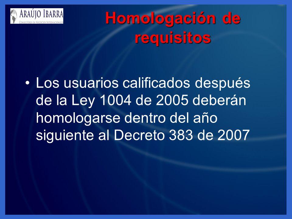 Homologación de requisitos Los usuarios calificados después de la Ley 1004 de 2005 deberán homologarse dentro del año siguiente al Decreto 383 de 2007
