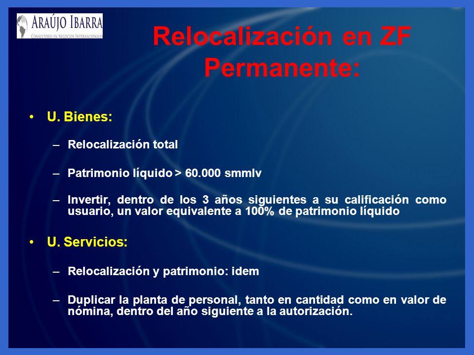U. Bienes: –Relocalización total –Patrimonio líquido > 60.000 smmlv –Invertir, dentro de los 3 años siguientes a su calificación como usuario, un valo