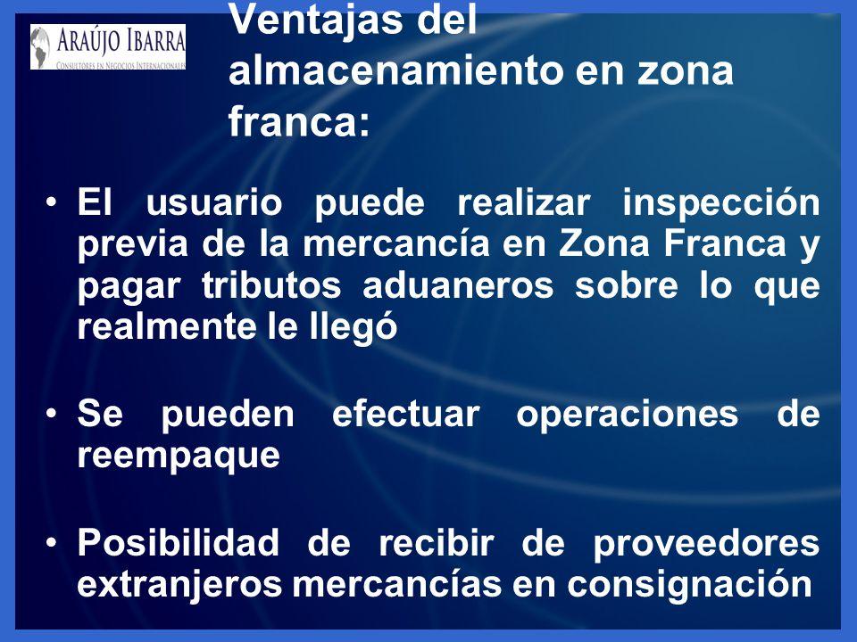 El usuario puede realizar inspección previa de la mercancía en Zona Franca y pagar tributos aduaneros sobre lo que realmente le llegó Se pueden efectu