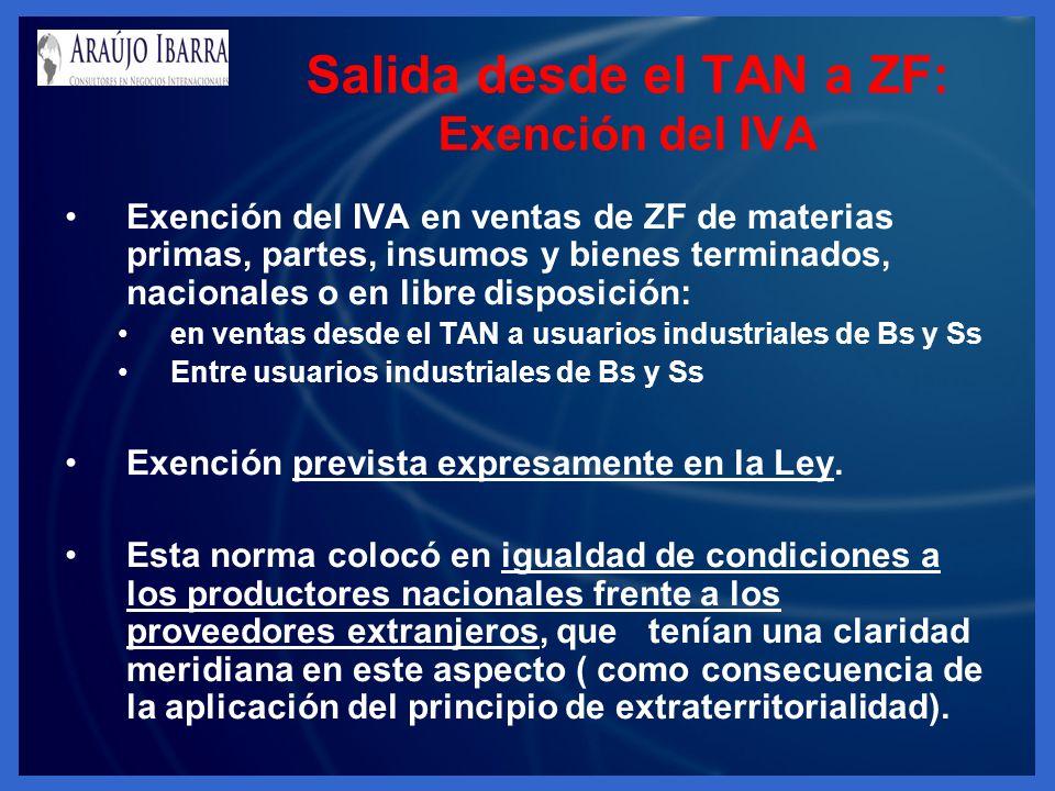 Exención del IVA en ventas de ZF de materias primas, partes, insumos y bienes terminados, nacionales o en libre disposición: en ventas desde el TAN a usuarios industriales de Bs y Ss Entre usuarios industriales de Bs y Ss Exención prevista expresamente en la Ley.