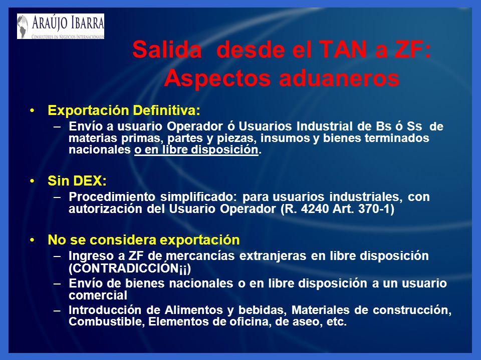 Salida desde el TAN a ZF: Aspectos aduaneros Exportación Definitiva: –Envío a usuario Operador ó Usuarios Industrial de Bs ó Ss de materias primas, pa